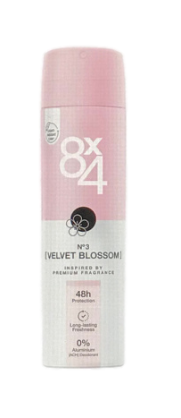 8x4 Deodorant Spray No. 3 Velvet Blossom dezodoranat spray  kwiatowy