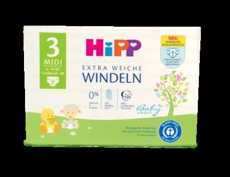 Hipp Babysanft Windeln Gr. 3 Midi, 36 St 6-10 kg jednorazowe pieluszki dla dzieci