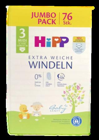Hipp Babysanft Windeln Gr. 3 Midi Jumbo Pack, 76 szt.  6-10 kg jednorazowe pieluszki dla dzieci